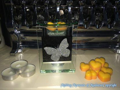 Glitter Butterfly Glass Oil Burner