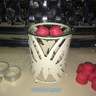 Cream Metal Butterfly Oil Burner