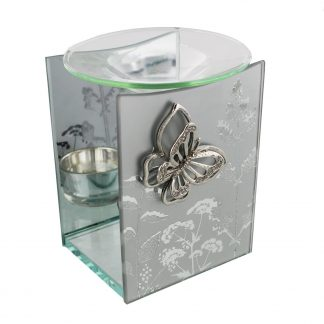 Hestia Frosted Mirror Butterfly Oil Burner