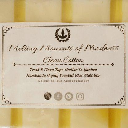 Clean Cotton wax melt snap bar