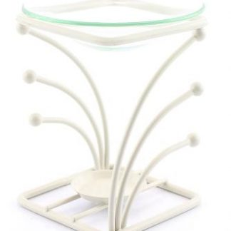 Cream Square Metal Prong Oil Burner