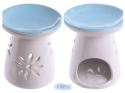 Ceramic Round Top Melt Burner with Flower Cutout Blue