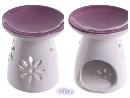 Ceramic Round Top Melt Burner with Flower Cutout Purple