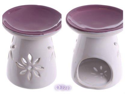Ceramic Round Top Melt Burner with Flower Cutout Purple