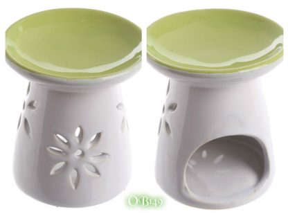 Ceramic Round Top Melt Burner with Flower Cutout Green