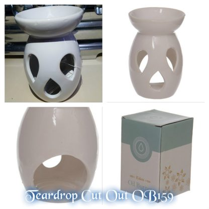 Ceramic Oil Burner with Teardrop Cutout Design