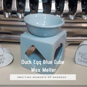 Ceramic Cube Wax Melter Duckegg Blue